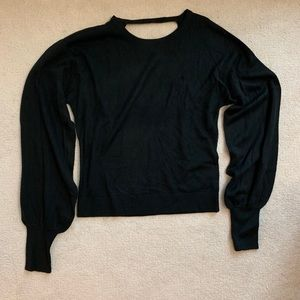 EXPRESS Black Knit Sweater with Balloon Sleeves